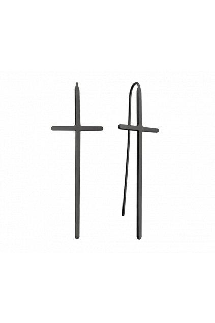 MINET Luxusní černé stříbrné náušnice  KŘÍŽE JMAS0063BE00