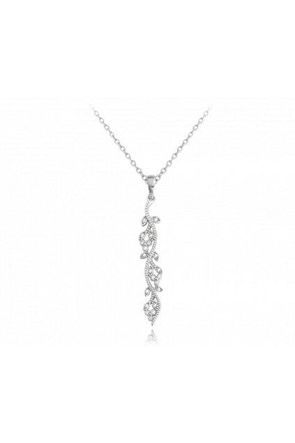 MINET Rozkvetlý stříbrný náhrdelník  FLOWERS se zirkony JMAS5032SN45