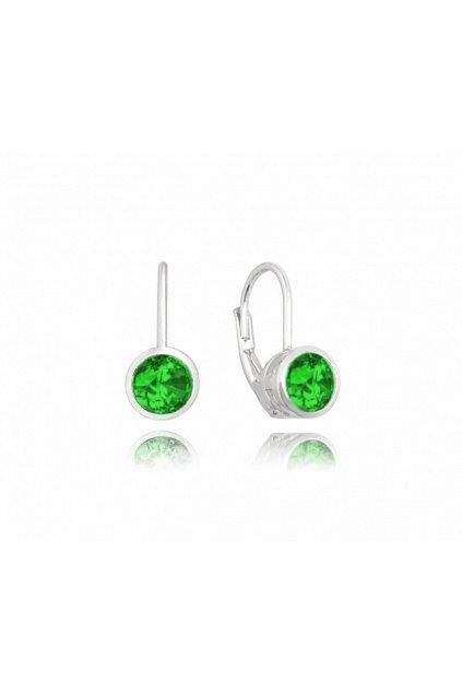 MINET Decentní stříbrné náušnice  se zelenými zirkony JMAS0096ZE00