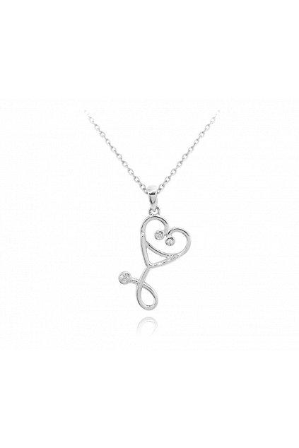 MINET Stříbrný náhrdelník  STETOSKOP se zirkony JMAN0216SN45