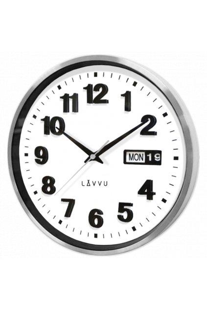 LAVVU Tmavé dřevěné bílé hodiny  FADE LCT4061