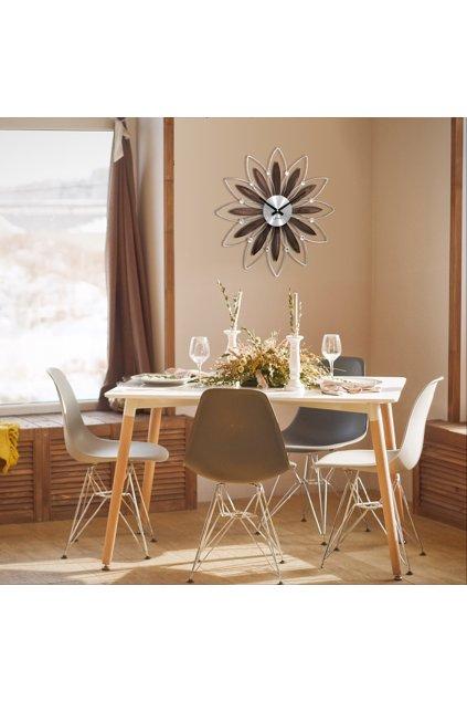 LAVVU Černé antracitové hodiny se stříbrnými detaily  CRYSTAL Lines LCT1143