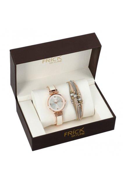 SKYLINE dámská dárková sada bílo-růžové hodinky s náramkem R2000