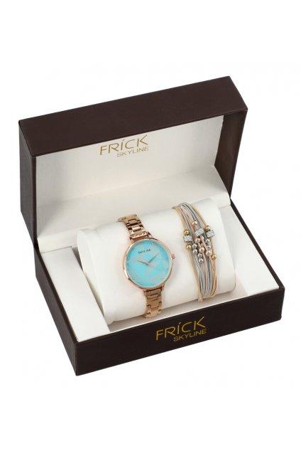 SKYLINE dámská dárková sada růžovo-zlaté hodinky s náramkem R2010