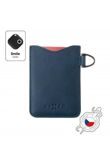 Kožené pouzdro na karty FIXED Smile Cards se smart trackerem FIXED Smile Pro, modré