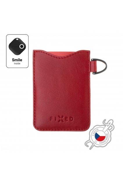 Kožené pouzdro na karty FIXED Smile Cards se smart trackerem FIXED Smile Pro, červené