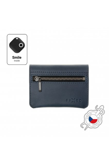 Kožená peněženka FIXED Smile Tripple se smart trackerem FIXED Smile Pro, modrá