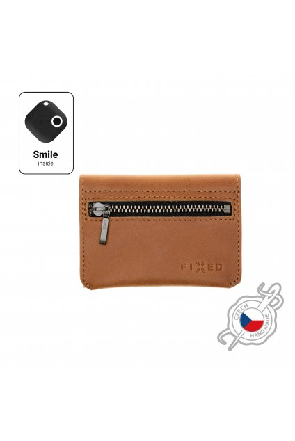 Kožená peněženka FIXED Smile Tripple se smart trackerem FIXED Smile Pro, hnědá