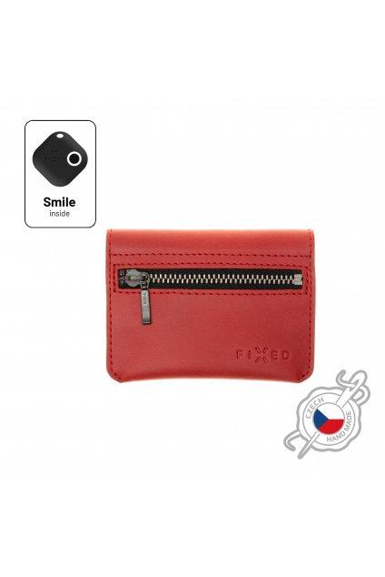 Kožená peněženka FIXED Smile Tripple se smart trackerem FIXED Smile Pro, červená
