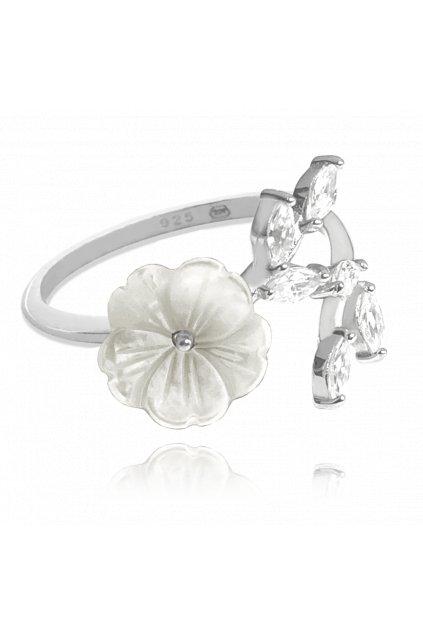 MINET Bílý rozkvetlý stříbrný prsten  FLOWERS se zirkony vel. 52 JMAS5055WR52
