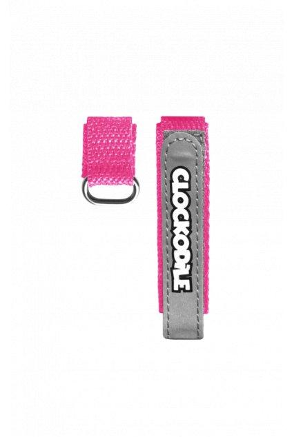 CLOCKODILE Reflexní růžový řemínek na suchý zip k dětským hodinkám CSX0024