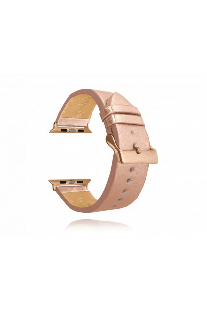 MINET Rose gold kožený řemínek  Top Grain pro APPLE WATCH 42-44 mm MSXAYR2