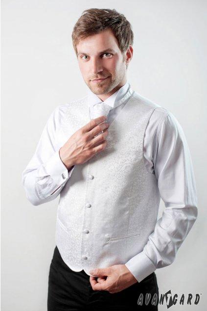 Bílá svatební vesta se svatební kravatou a kapesníčkem - zdobený vzor