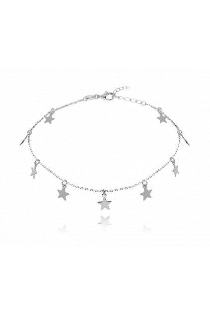 MINET Stříbrný řetízek na kotník  s hvězdičkami JMAN0184SB24