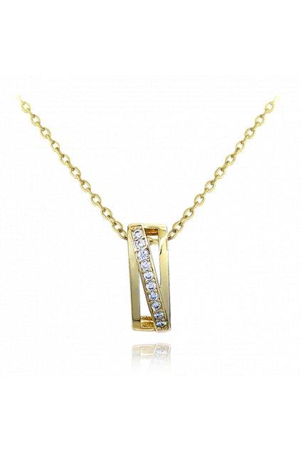 MINET Luxusní stříbrný pozlacený náhrdelník  s bílými zirkony JMAS0118GN45