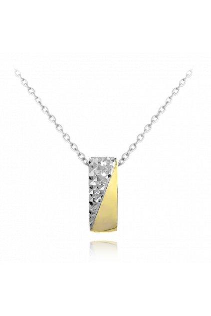 MINET Luxusní stříbrný pozlacený náhrdelník JMAS0119GN45