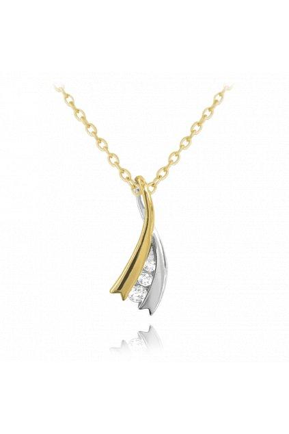 MINET Elegantní pozlacený stříbrný náhrdelník  s bílými zirkony JMAS0123GN45