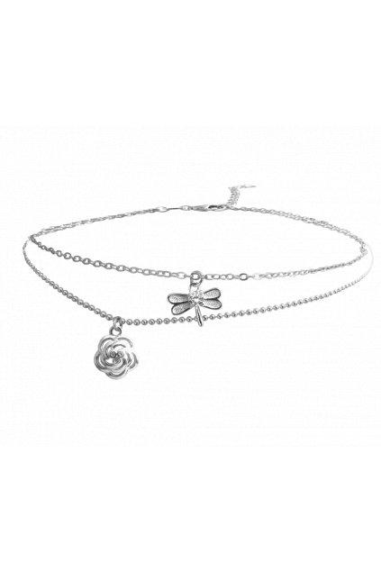 MINET Letní stříbrný řetízek na kotník  RŮŽIČKA s vážkou JMAS5006SB25