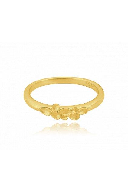 MINET Matný pozlacený stříbrný prsten  EUCALYPTUS vel. 58 JMAS5043XR58