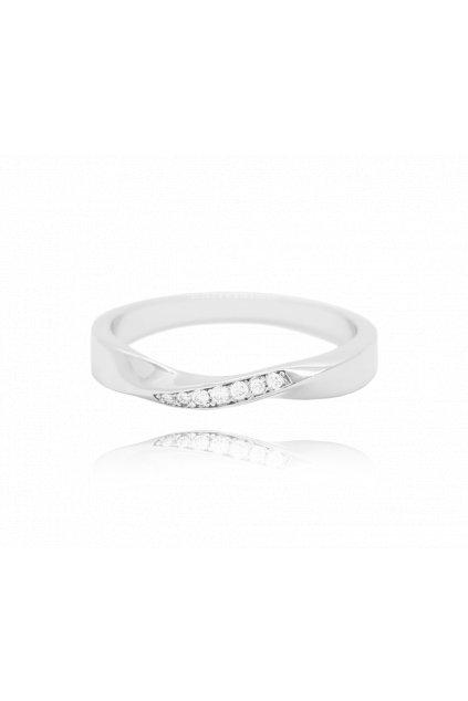 MINET Kroucený stříbrný prsten  s bílými zirkony vel. 61 JMAN0145SR61