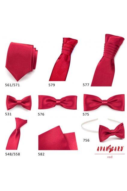 Lesklá červená svatební kravata