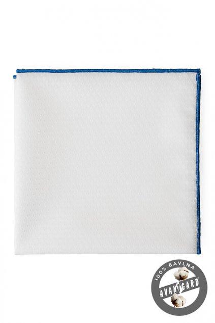 Bavlněný bílý kapesníček s modrým okrajem