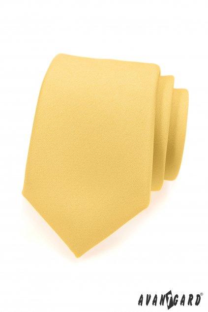 Luxusní matná žlutá kravata