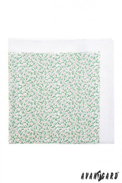 bílý kapesníček do saka se zelenými květy