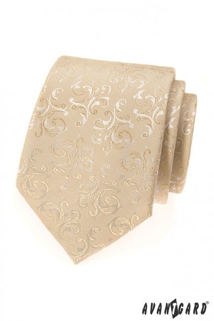 Smetanová kravata se zdobeným vzorem