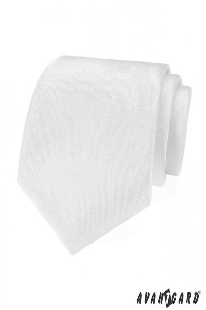 Bílá kravata s decentním lesklým vzorem