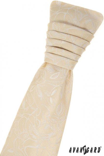 Ivory svatební kravata + kapesníček