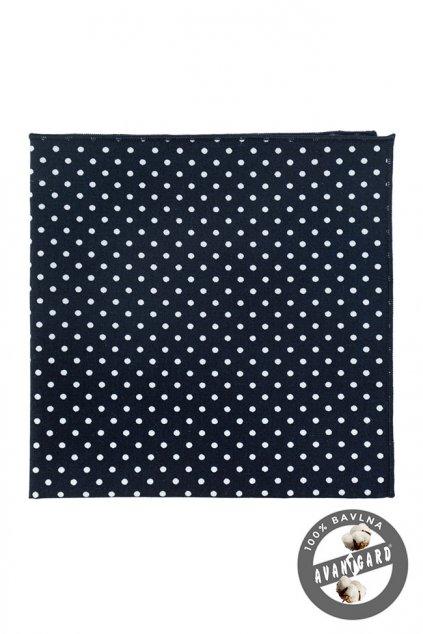 Bavlněný tmavě modrý kapesníček do saka – bílé puntíky