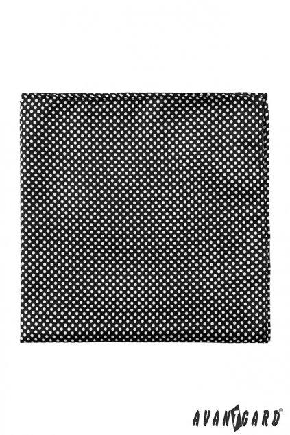 Černý kapesníček do saka – bílé puntíky