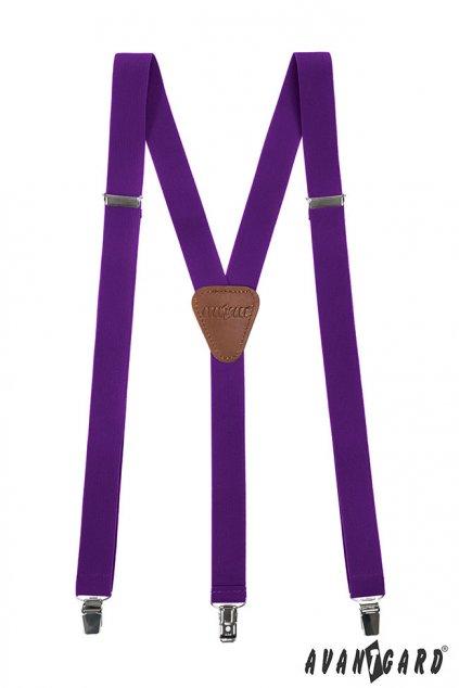 Úzké fialové kšandy – hnědý střed