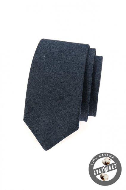Jeansová modrá slim kravata