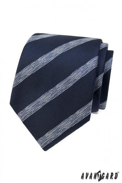 Tmavě modrá kravata s bílými pruhy