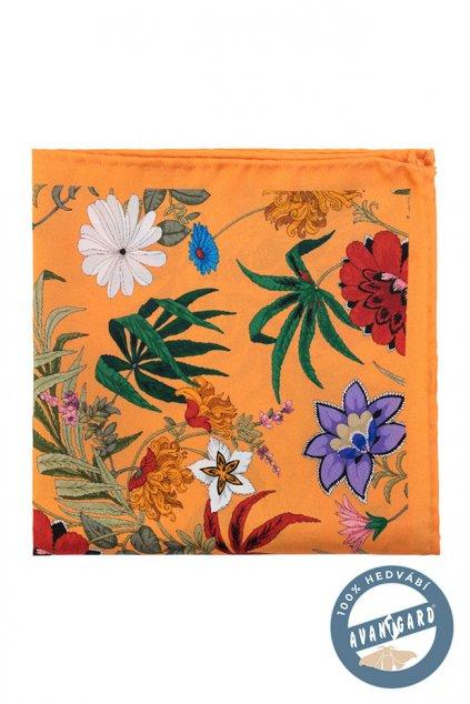 Hedvábný oranžový kapesníček s barevnými květinami