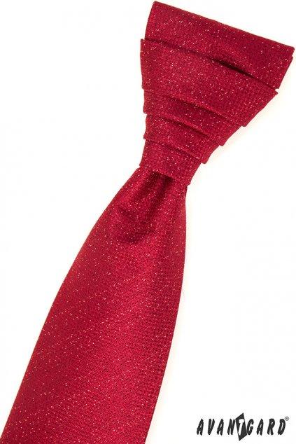 Červená svatební kravata + kapesníček