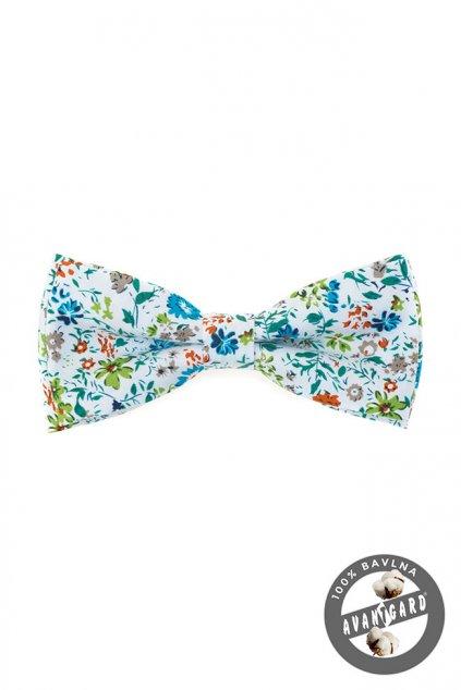 Bílý bavlněný motýlek s barevnými květinami