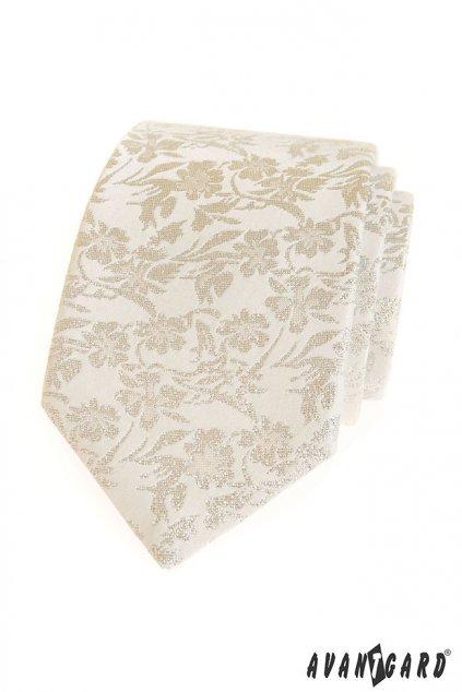 Smetanová kravata s květovaným vzorem