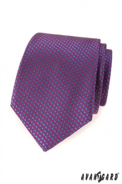 Fialová kravat s modrými puntíky