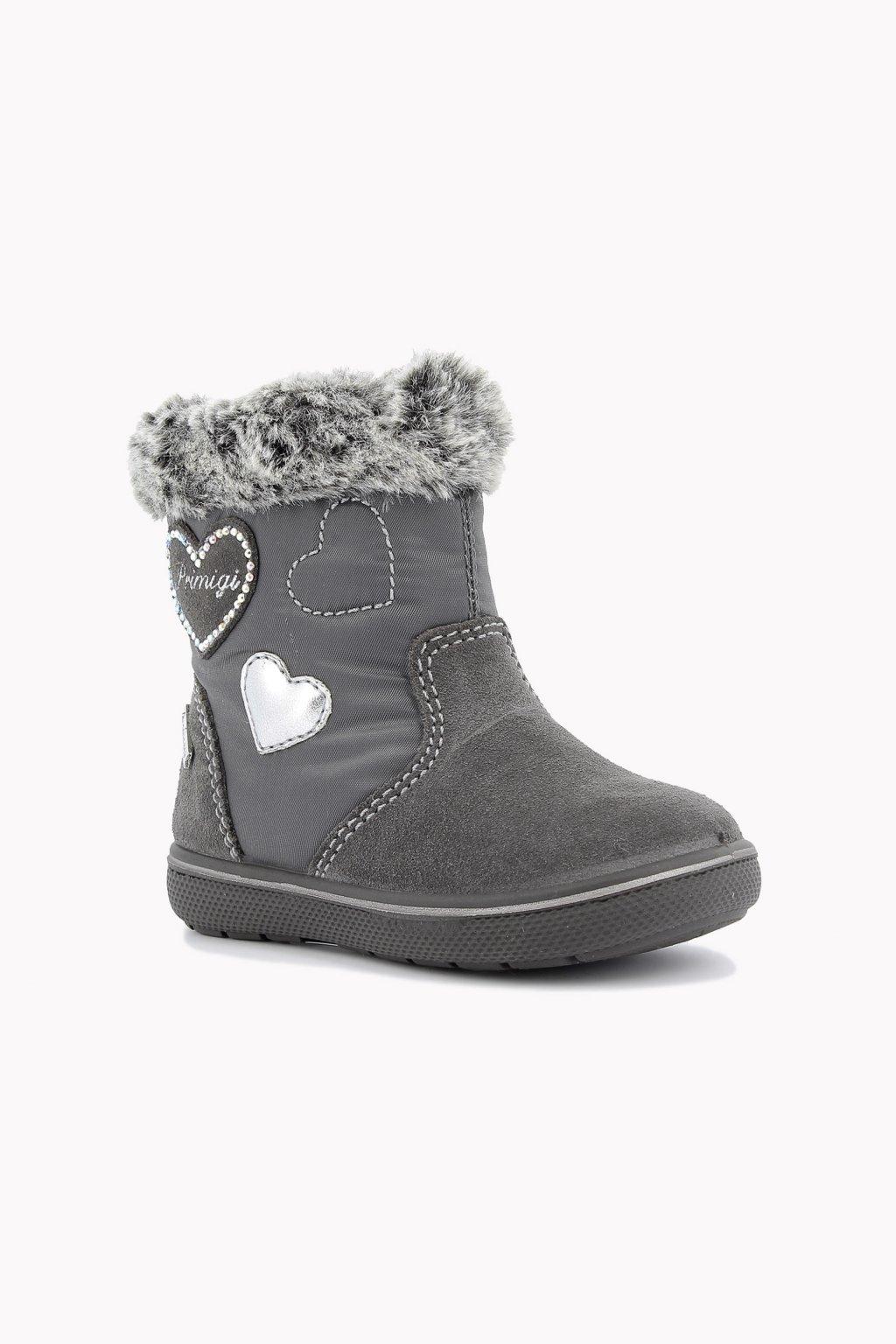 Primigi - Kožená dívčí zimní obuv (Barva šedá, Velikost 28)