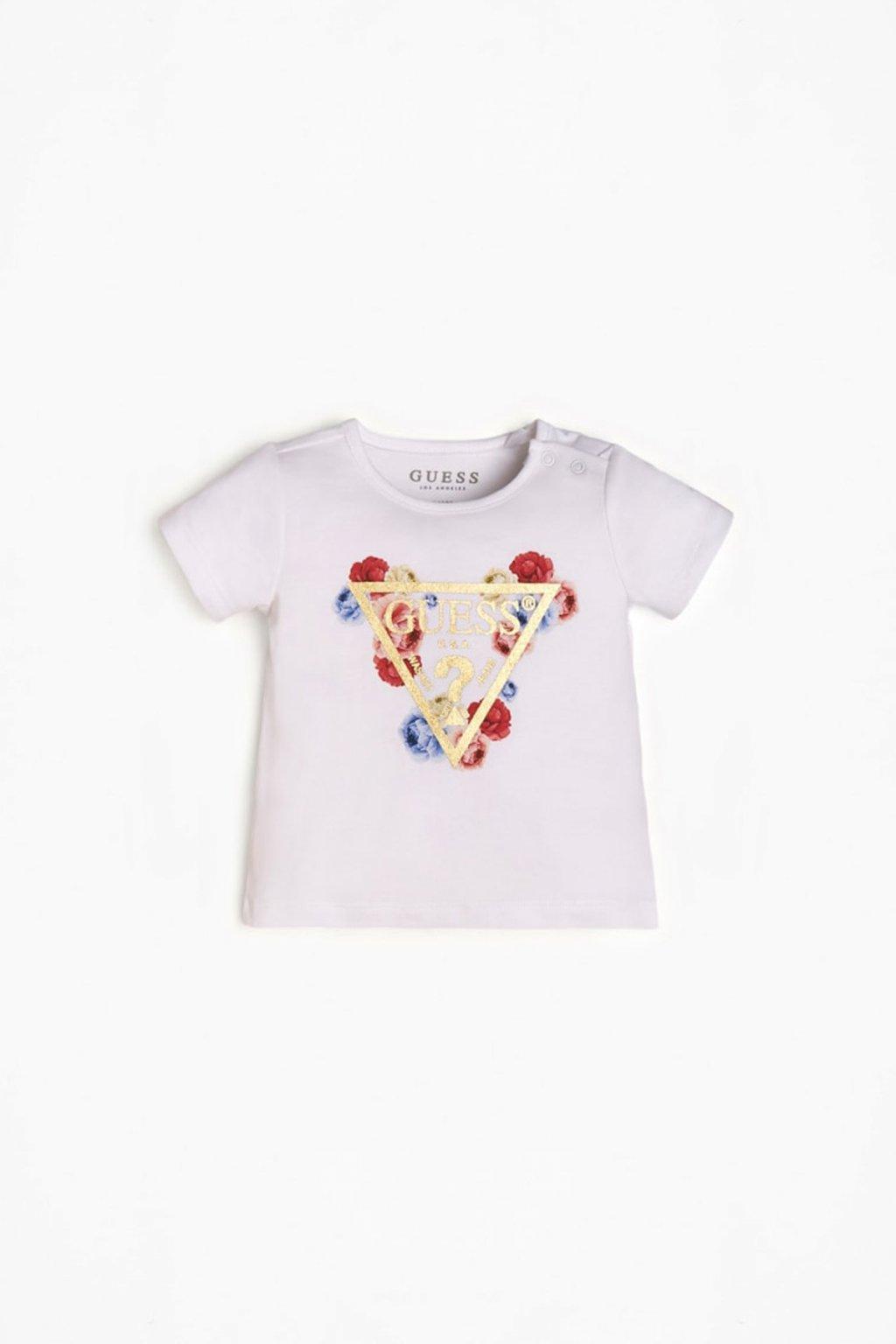 "Guess - Dívčí tričko ""FLOWERSHEARTH"" (Barva Bílá, Velikost 68)"