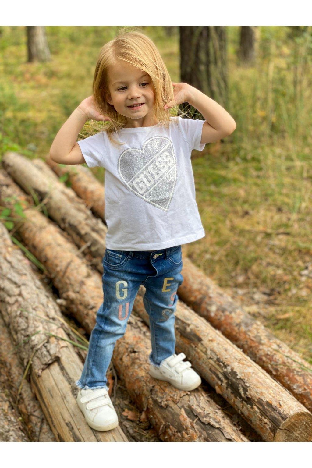 "Guess - Dívčí tričko ""HEARTH"" (Barva Bílá, Velikost 128)"