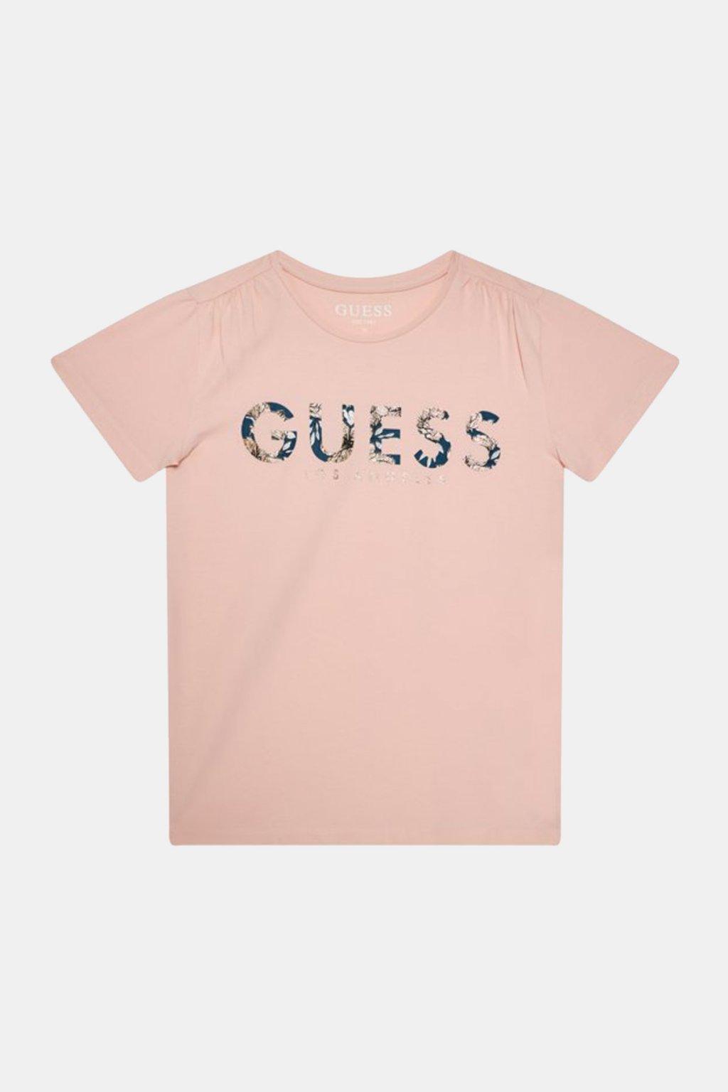 """Guess - Triko s krátkým rukávem """"REGULAR FIT"""" (Barva Lososová, Velikost 128)"""