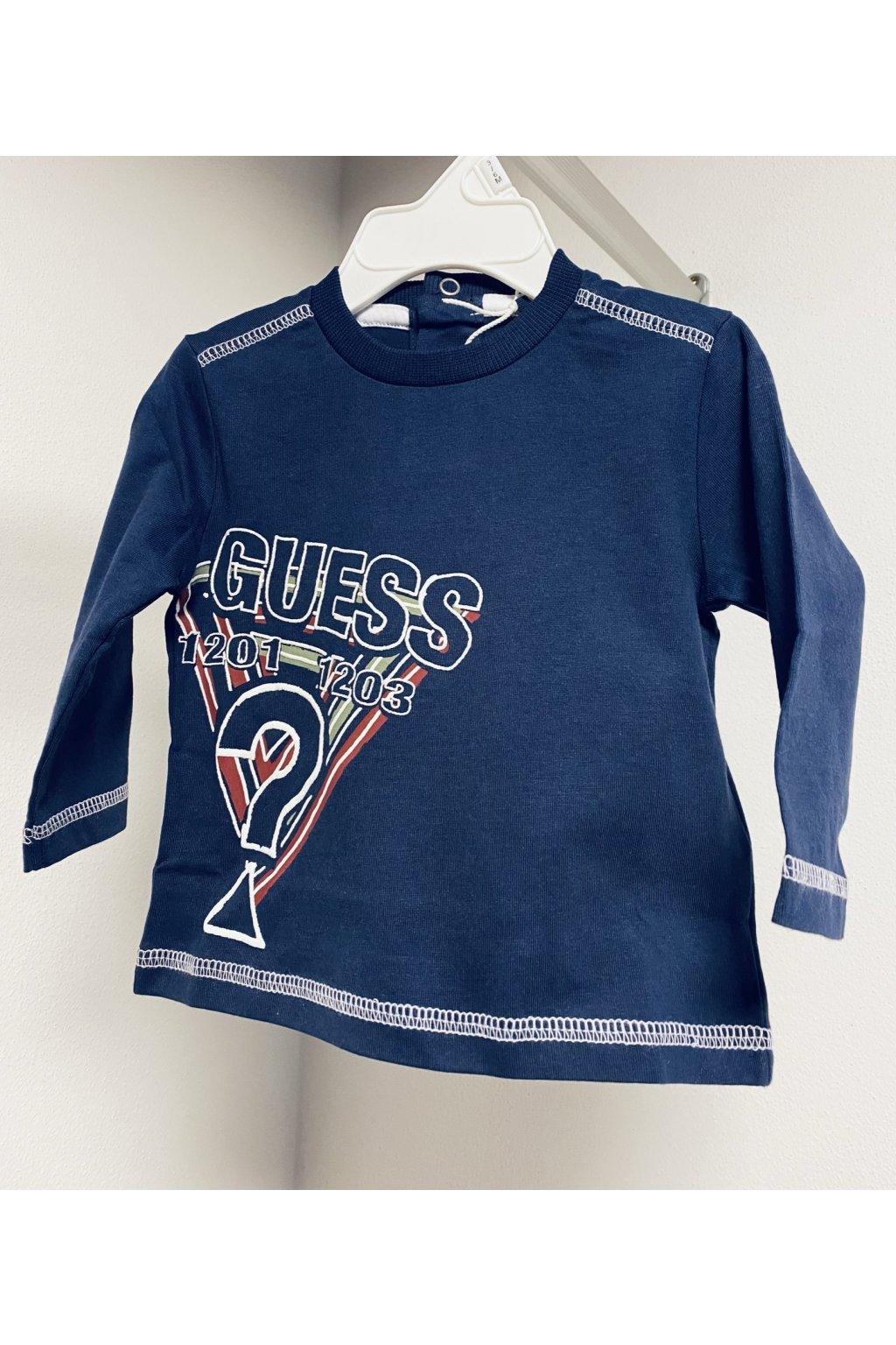"""Guess - Tričko s dlouhým rukávem """"BRAND"""" (Barva Tmavě modrá, Velikost 122)"""
