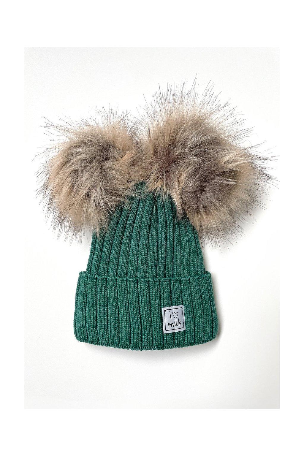 zimowa czapka dziecieca z pomponami zielona