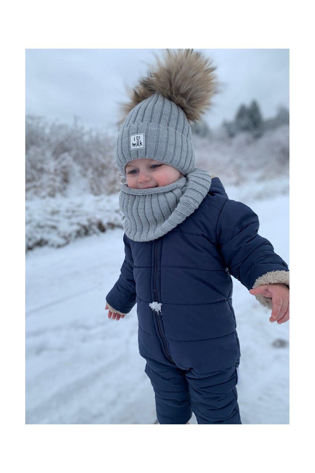 komin dzieciecy zimowy szary (1)