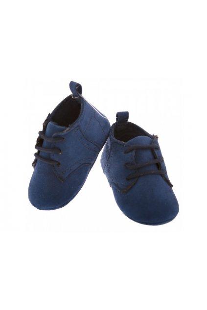 Wowmini - Semišové capáčky (Barva tmavě modrá, Velikost 6-12m)