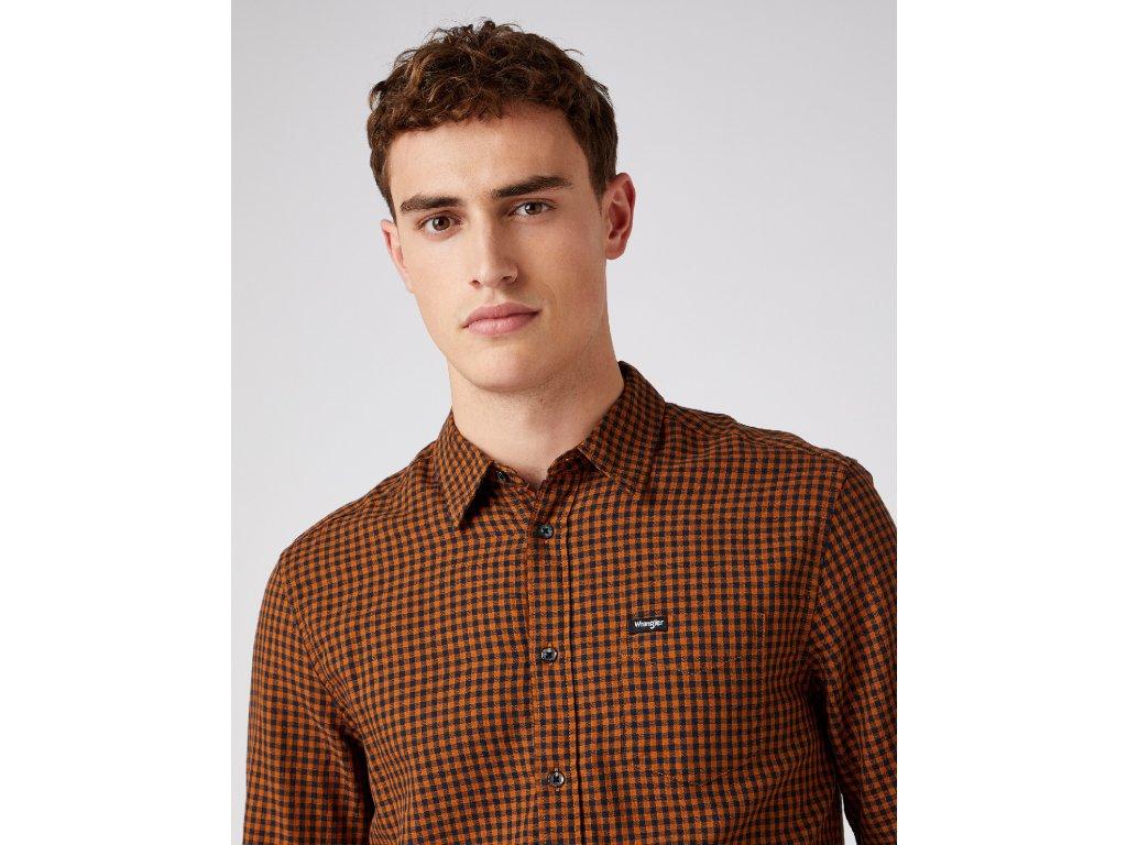 košile Wrangler SHIRT NUTMEG BROWN